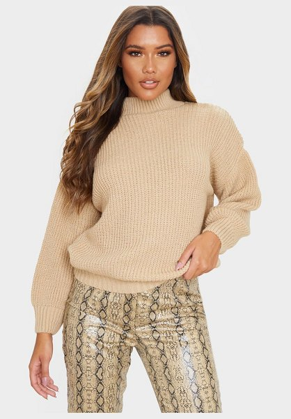 PrettyLittleThing balloon sleeve fluffy sweater in stone