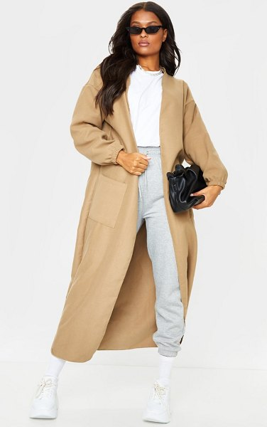 PrettyLittleThing balloon sleeve maxi pocket front coat in camel
