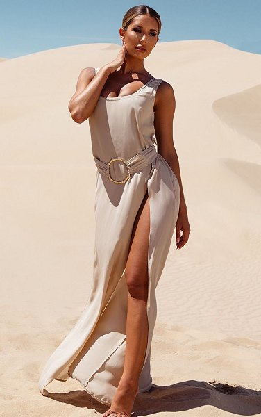 PrettyLittleThing bamboo ring belted maxi beach dress in stone