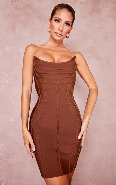 PrettyLittleThing bandage pointed bandeau panelled bodycon dress in chocolate