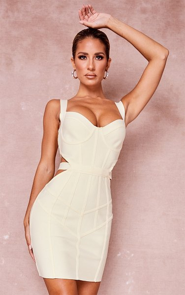 PrettyLittleThing bandage waist cut out panelled bodycon dress in cream