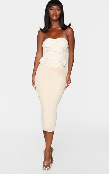 PrettyLittleThing bandeau ruched bust detail midi dress in nude