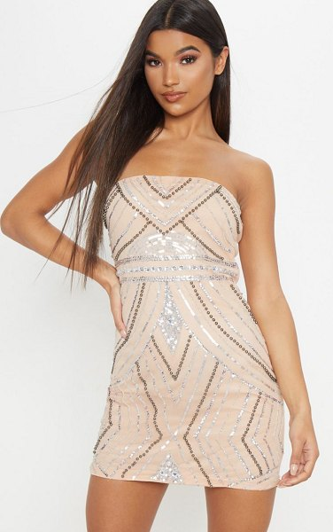 PrettyLittleThing bandeau sequin pearl embellished bodycon dress in nude - Head into the weekend with this nude glitzy dress...