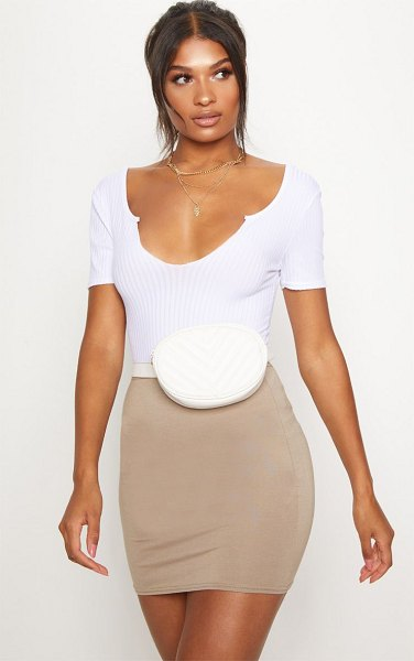 PrettyLittleThing basic jersey mini skirt in taupe