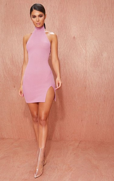 PrettyLittleThing basic ribbed high neck split detail bodycon dress in mauve