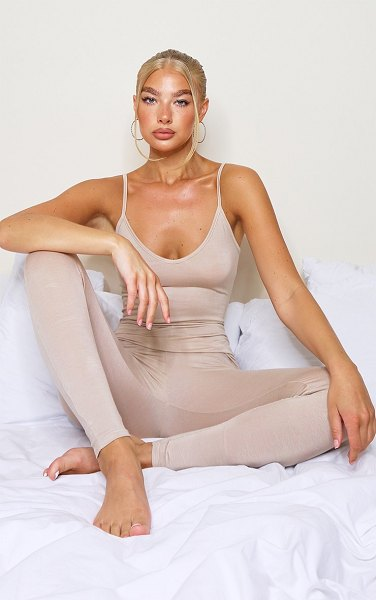 PrettyLittleThing basic strappy plunge jumpsuit in stone