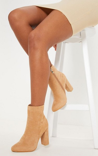 PrettyLittleThing behati faux suede ankle boots in stone