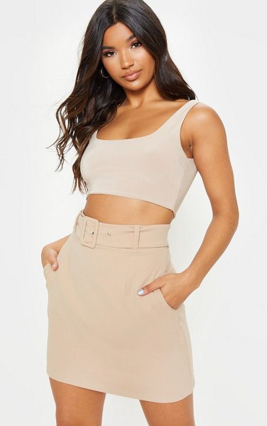 PrettyLittleThing belted a line mini skirt in stone