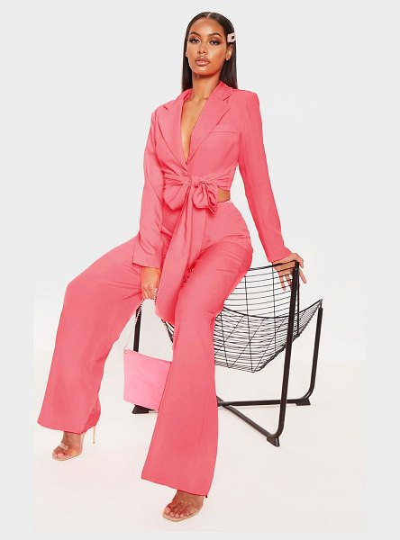 PrettyLittleThing belted cropped woven blazer in coral