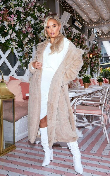PrettyLittleThing belted faux fur coat in taupe