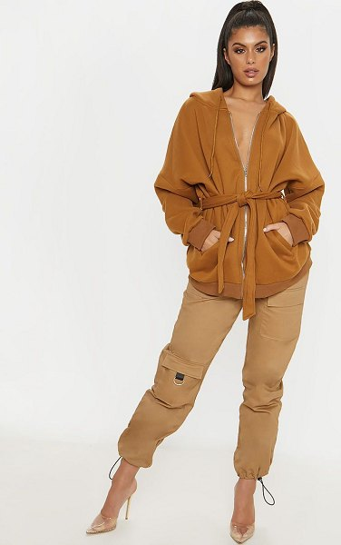 PrettyLittleThing oversized belted sweat hoodie in camel