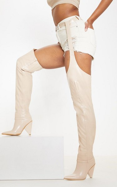 PrettyLittleThing belted thigh high western boot in nude