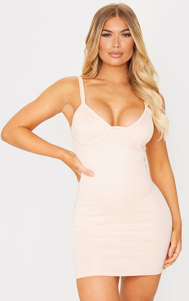 PrettyLittleThing binding detail strappy bodycon dress in nude