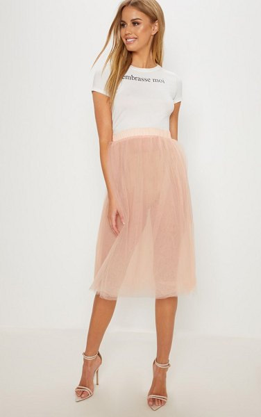 PrettyLittleThing blush tulle skirt in nude