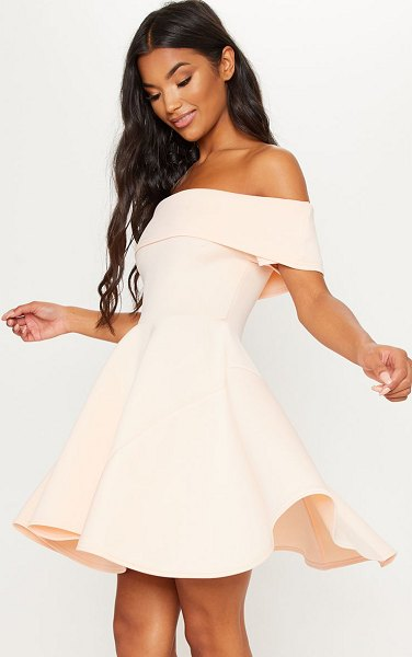 PrettyLittleThing bonded scuba bardot skater dress in nude