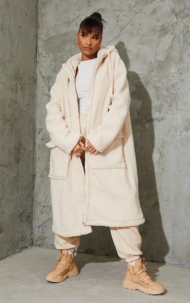 PrettyLittleThing borg hooded pocket front maxi parka coat in cream