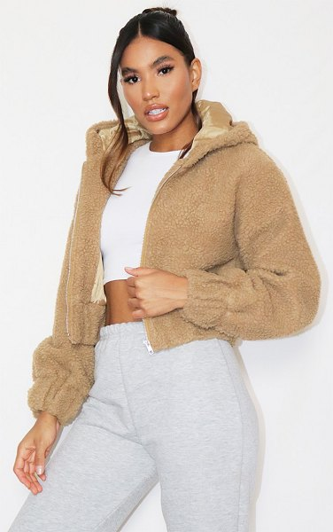 PrettyLittleThing borg hooded zip through jacket in camel