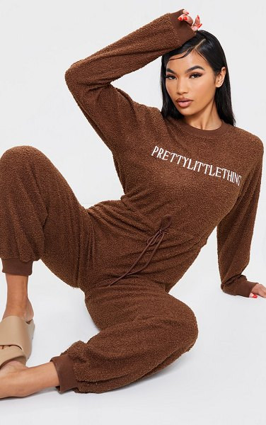 PrettyLittleThing borg long sleeve jumpsuit in chocolate