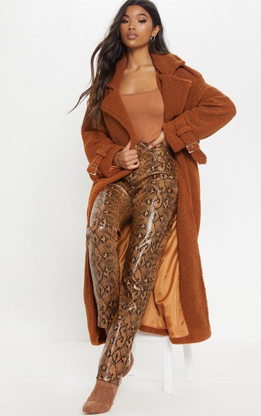 PrettyLittleThing borg oversized belted coat in brown