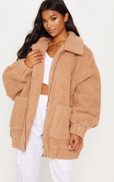 PrettyLittleThing borg pocket front coat in camel -  Borg coats are essential this season and we are...