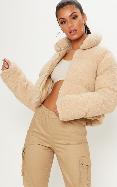 PrettyLittleThing borg puffer in stone - Layer up in style this season with this killer puffer...