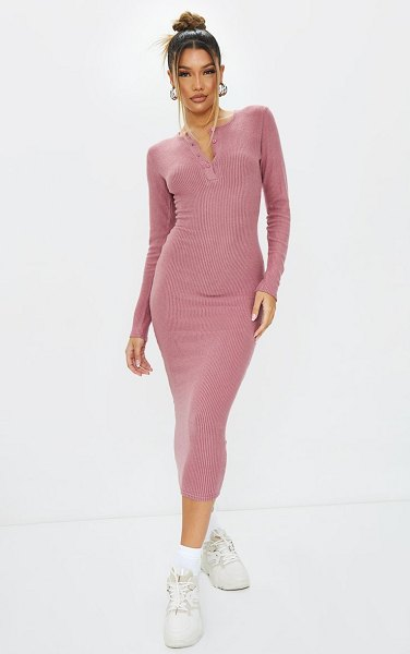 PrettyLittleThing brushed rib button front midaxi dress in mauve