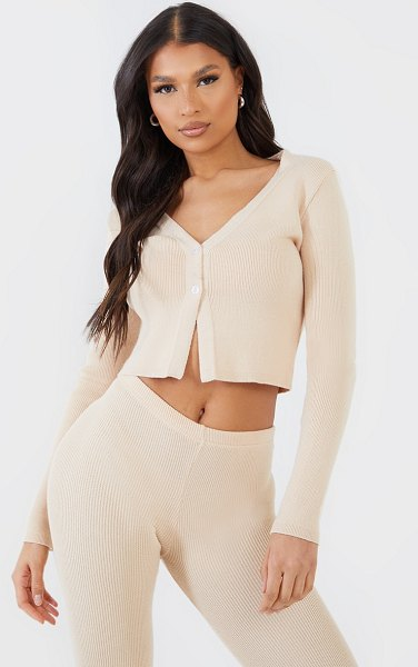 PrettyLittleThing button up ribbed knitted cardigan in stone