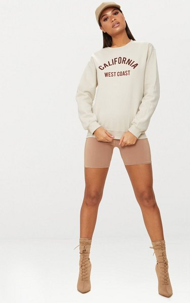 PrettyLittleThing california slogan oversized sweater in sand