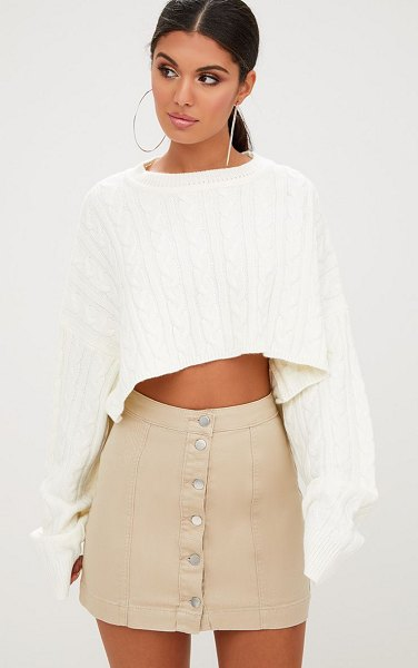 PrettyLittleThing cammie denim mini skirt in stone