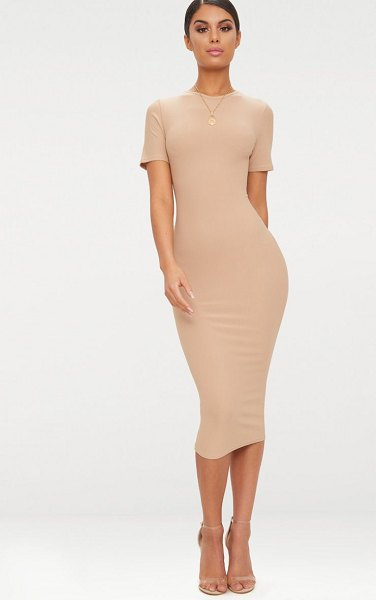 PrettyLittleThing cap sleeve midi dress in taupe