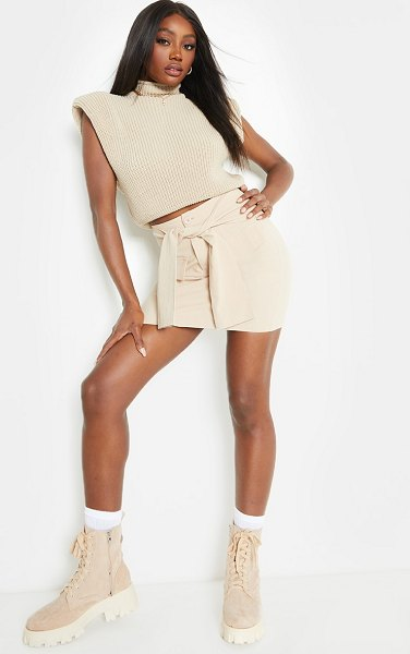 PrettyLittleThing cargo extreme tie mini skirt in stone