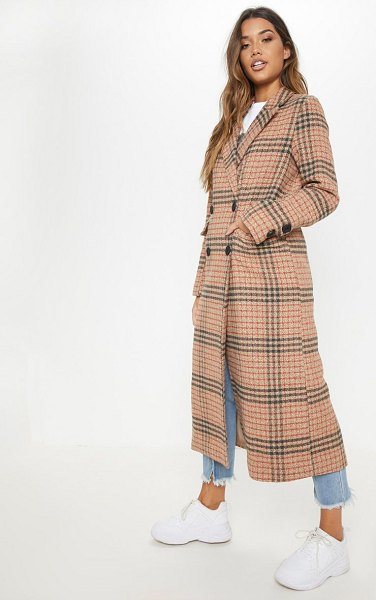 PrettyLittleThing check maxi coat in brown