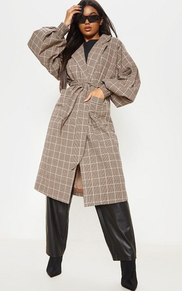 PrettyLittleThing check print balloon sleeve tie waist trench in stone