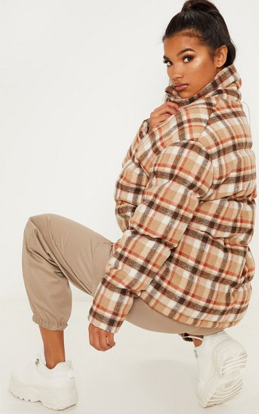 PrettyLittleThing checked puffer in stone - We re loving puffer jackets trend right now doll This...