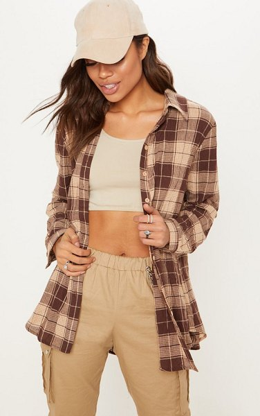 PrettyLittleThing checked shirt in brown - This checked shirt is our new off duty go to Featuring a...