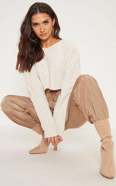 PrettyLittleThing chenille cropped knitted sweater in cream