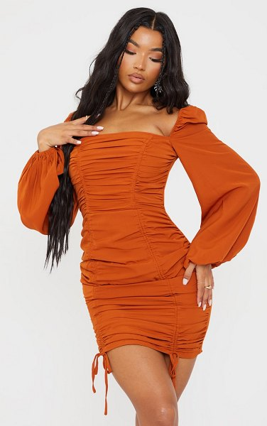 PrettyLittleThing  chiffon double ruched bodycon dress in terracotta