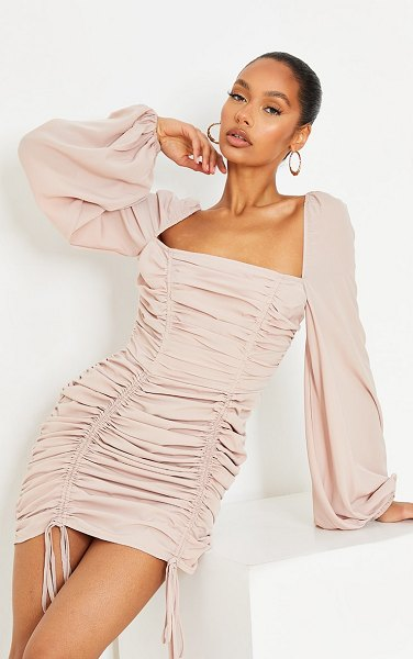 PrettyLittleThing chiffon double ruched bodycon dress in stone