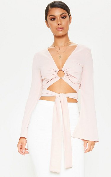 PrettyLittleThing chiffon o-ring long sleeve crop blouse in rose