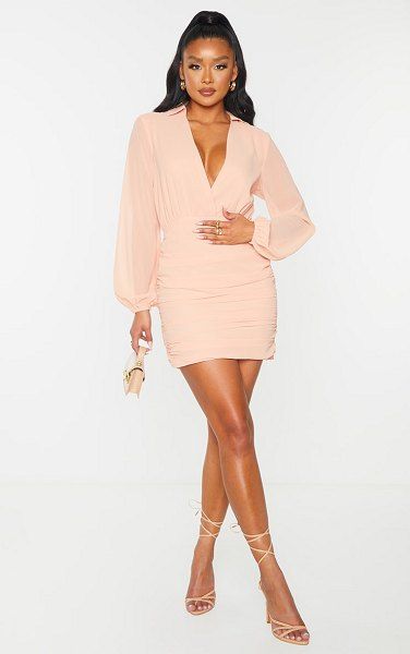 PrettyLittleThing chiffon plunge ruched skirt long sleeve bodycon dress in peach