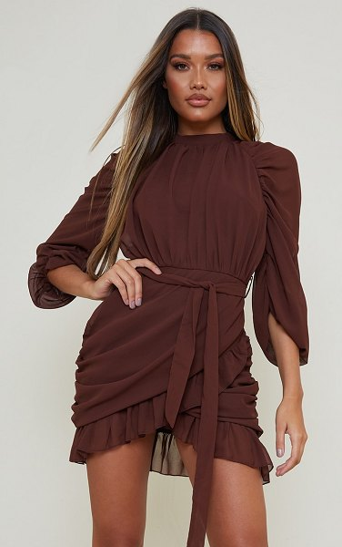 PrettyLittleThing chiffon ruched sleeves frill hem bodycon dress in chocolate