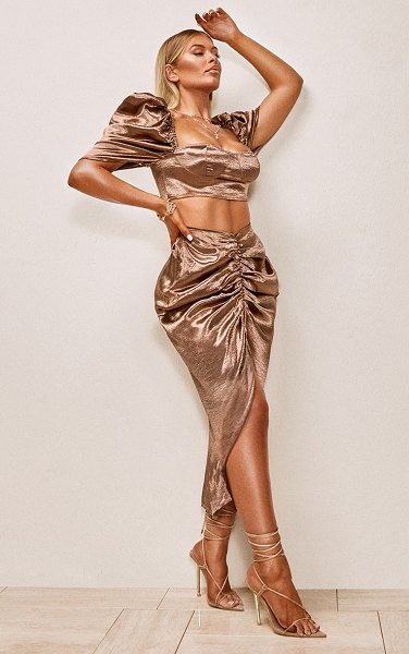 PrettyLittleThing chocolate brown satin ruched front split leg midaxi skirt in chocolate brown