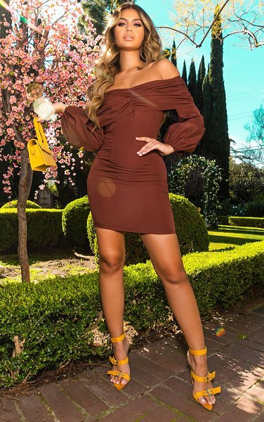PrettyLittleThing chocolate puff sleeve ruched bardot bodycon dress in chocolate brown