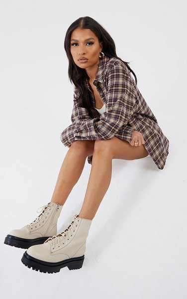 PrettyLittleThing chunky stitch detail hiker boots in cream