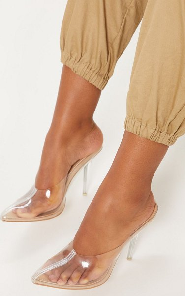 PrettyLittleThing clear mule court in nude