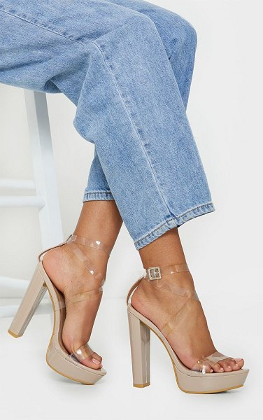 PrettyLittleThing clear strappy platform heels in nude