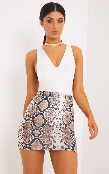 PrettyLittleThing cloressa snake print mini skirt in taupe
