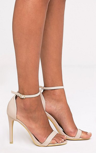 PrettyLittleThing clover strap heeled sandals in nude