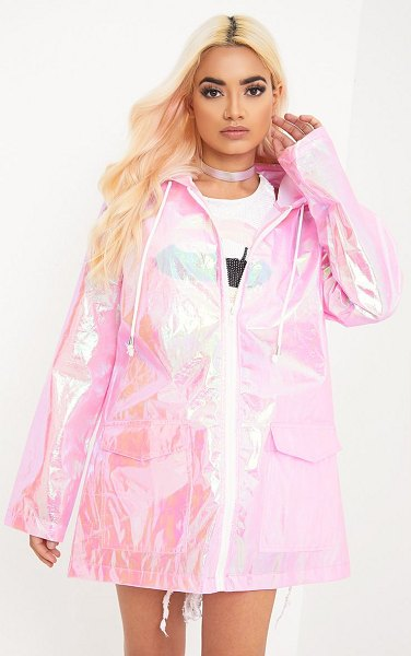 PrettyLittleThing cobie holographic rain mac in pink