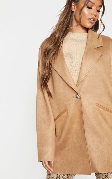 PrettyLittleThing cocoon faux suede coat in camel